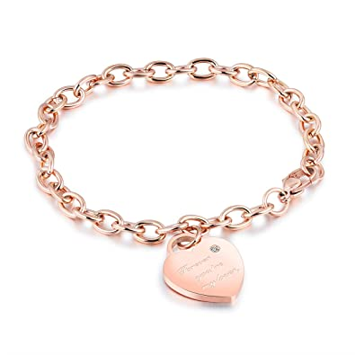 CHARMFAME Stainless Steel Love Heart Bracelet Cubic Zirconia Inlaid Engraved Pendant Link Bracelet for Women /& Girls
