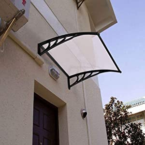 Buyounger Polycarbonate Awning for Patio, Door Window Awning Canopy Cover UV Rain Snow Sunlight Protection with Black Bracket Porch Awning Outdoor Front Door Balcony for Home 59