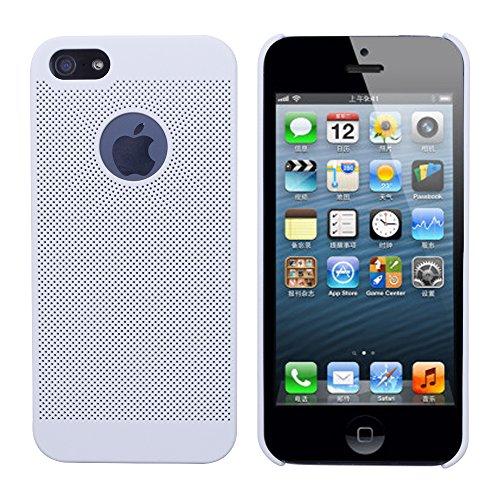 iProtect Premium Schutzhülle Apple iPhone 5, 5s, SE Hard Case Grid Effect mit Logoaussparung - weiß