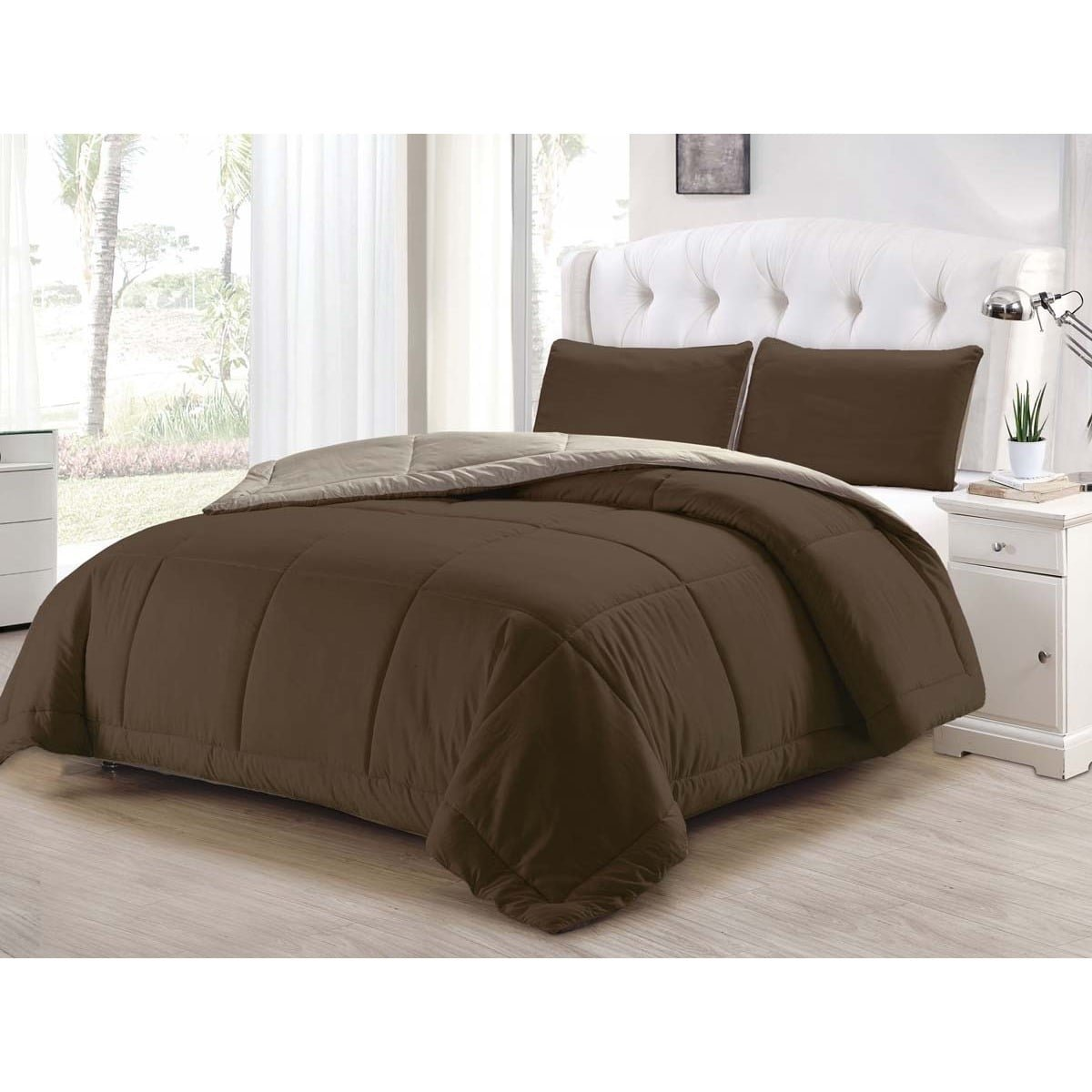 Duck River Textile -  Samantha Hotel Quality Luxury Comforter Duvet Insert Cover Hypoallergenic | 3 Piece Set |, | Queen Size | Brown & Taupe