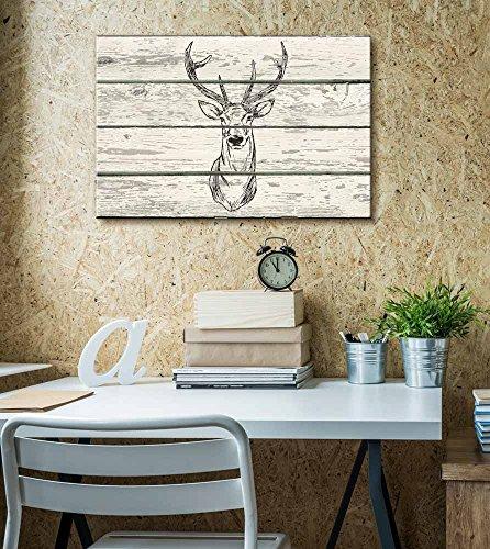 Block Print Stag Deer with Antlers Artwork Rustic