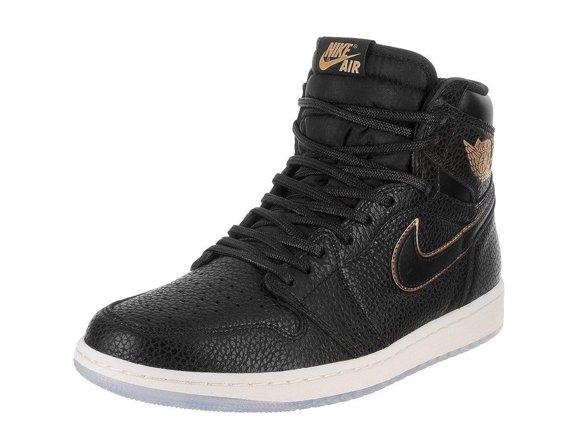 reputable site eb059 42ca2 Jordan Nike Air 1 Retro High OG Men's Basketball Shoes 555088 031 Black  Metallic Gold (11)