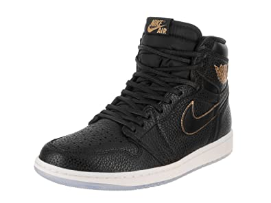 finest selection c8b99 77f71 Image Unavailable. Image not available for. Color  Jordan Nike Air 1 Retro  High OG Men s Basketball Shoes 555088 031 Black Metallic Gold (