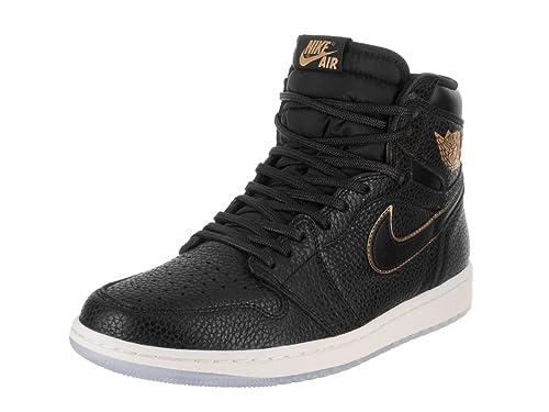 Nike Air Jordan 1 Retro High OG Men's Basketball Shoes 555088 031 Black Metallic Gold (9.5)