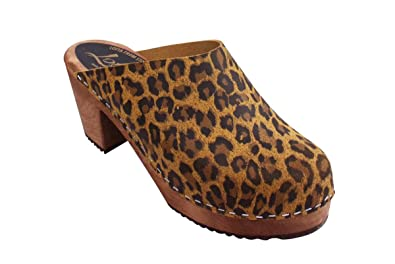 6bc657b2210c2 Lotta From Stockholm Swedish Clogs High Heel Classic Clog in Leopard with  Brown Base-37