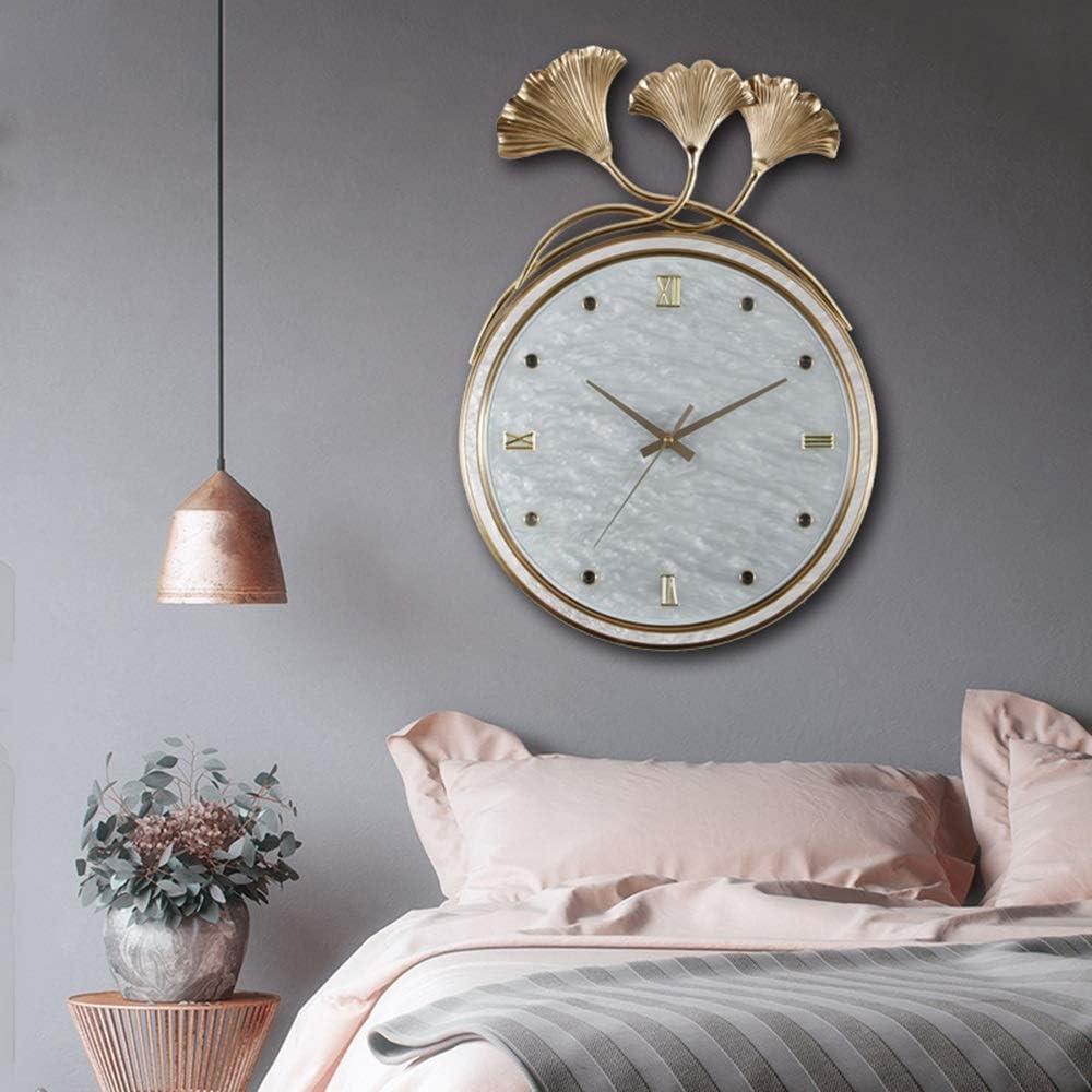 掛け時計 時計ファッションイチョウの葉クリエイティブウォールクロック雰囲気純銅リビングルームウォールクロック37.5 * 55.5(センチ) Yingkou