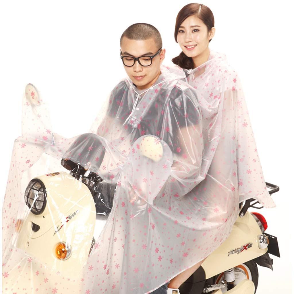 H XXXL Cheng-poncho pluie adulte L'équitation Transparente de Chapeau d'arc-en-Ciel avec Deux Personnes a augHommesté l'épaisseur du Chapeau de Moto d'arc-en-Ciel (Couleur   H, Taille   XXXXL)
