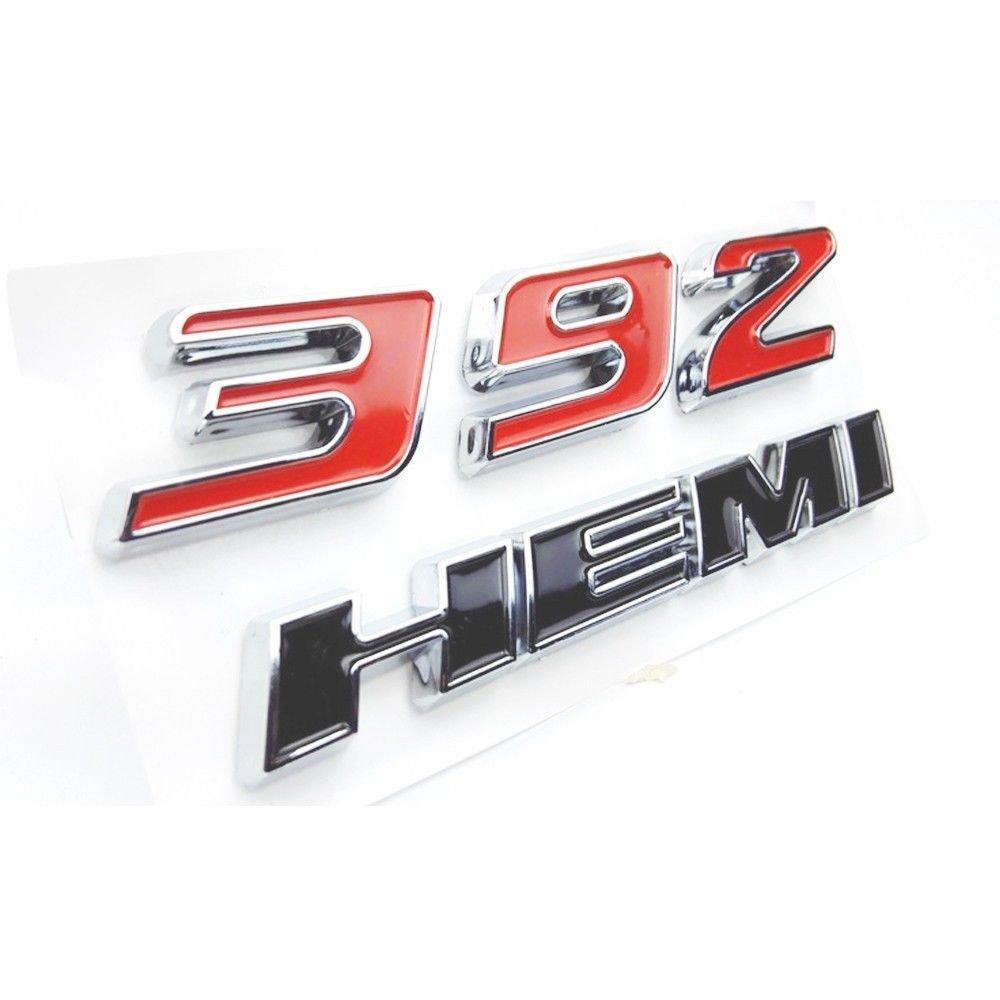 Exotic Store D-392HRB Pack of 2 Red/&Black 392 HEMI Emblem Fender Side Badge Sticker 6.4L Decal For Dodge Challenger SRT Chrysle 300c 3500 SRT8 HEMI Emblem Nameplates HappyHands
