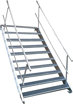 10 Escalera de acero Escaleras con doble cara barandilla/Nivel Planta ancho 90 cm/Altura 150 –