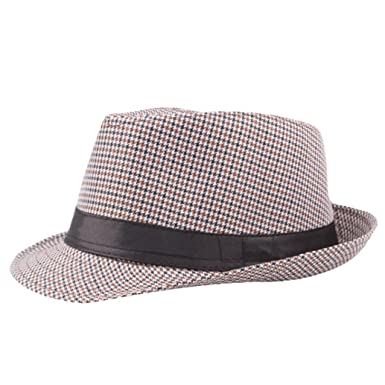 Unisex Panama Summer Gangster Cap Fedora Trilby Straw Sun Hats for Men  Women Safari 7302a3bee9a0