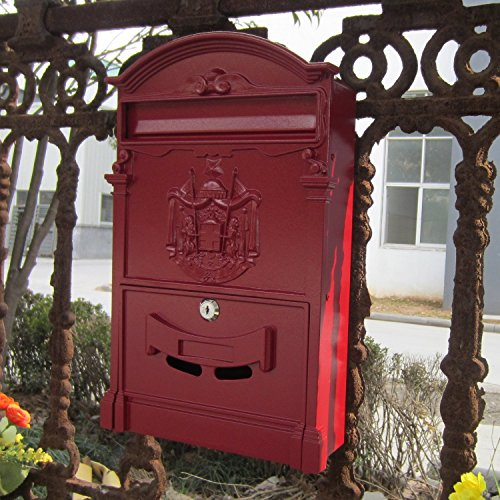 Traditional Aristocratic, Sun Identity Villa Cast Aluminum Mailboxes 49 Colors Available (08 Red Wave)