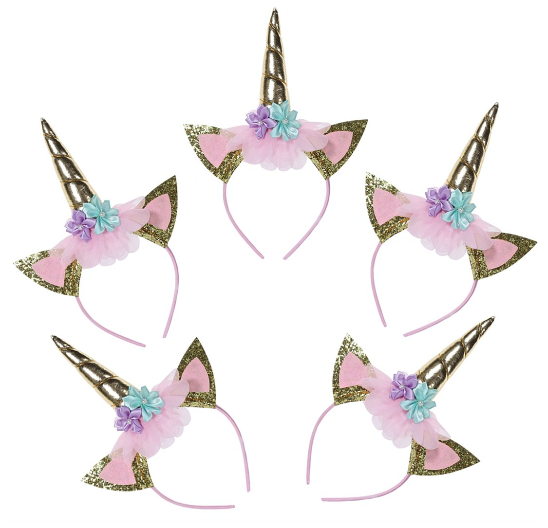 Unicorn Party Supplies favors Pack of 5 Unicorn Horn Headband with Glitter Ears, Unicorn Theme Theme Birthday Cosplay for Girls Children Gift Christmas Halloween Party Costume