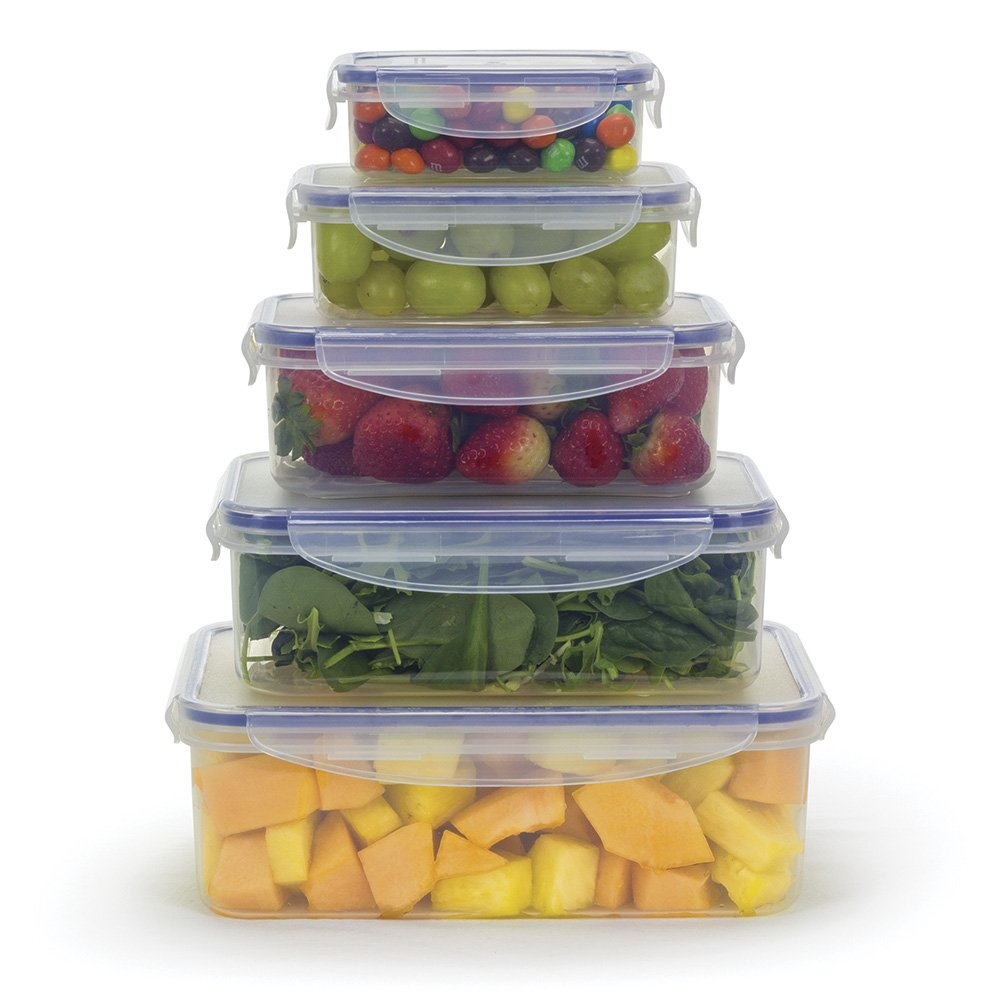 Plastic Food Storage Container With Lids Set 10 Pcs BPA Free Kitchen