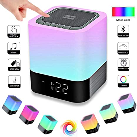 Bixme Led Bluetooth Speaker Night Light Dimmable Wireless Speaker Portable Wireless Bluetooth Speaker 48 Led Changing Color Touch Control Bedside Lamp Alarm Clock Mp3 Player Best Electronic Gift Amazon Com