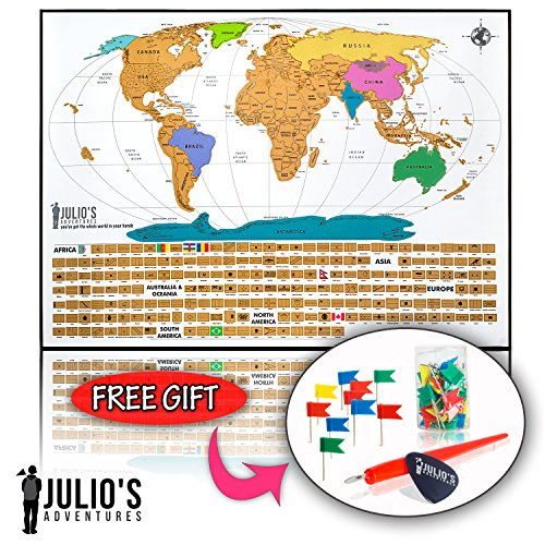 Scratch off world map poster with free 50 flag pins and us import scratch off world map poster with free 50 flag pins and us states includes scratch gumiabroncs Images