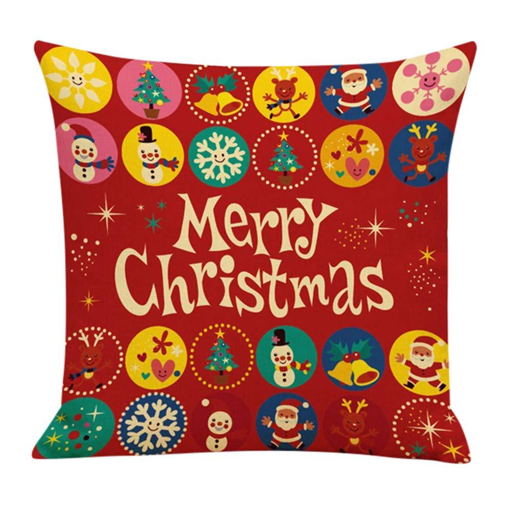 Leewos Christmas Pillowcase,Xmas Santa Beer Style Pattern Cushion Case Cotton Linen Square Home Decor Pillow Covers (18''x18'', D)