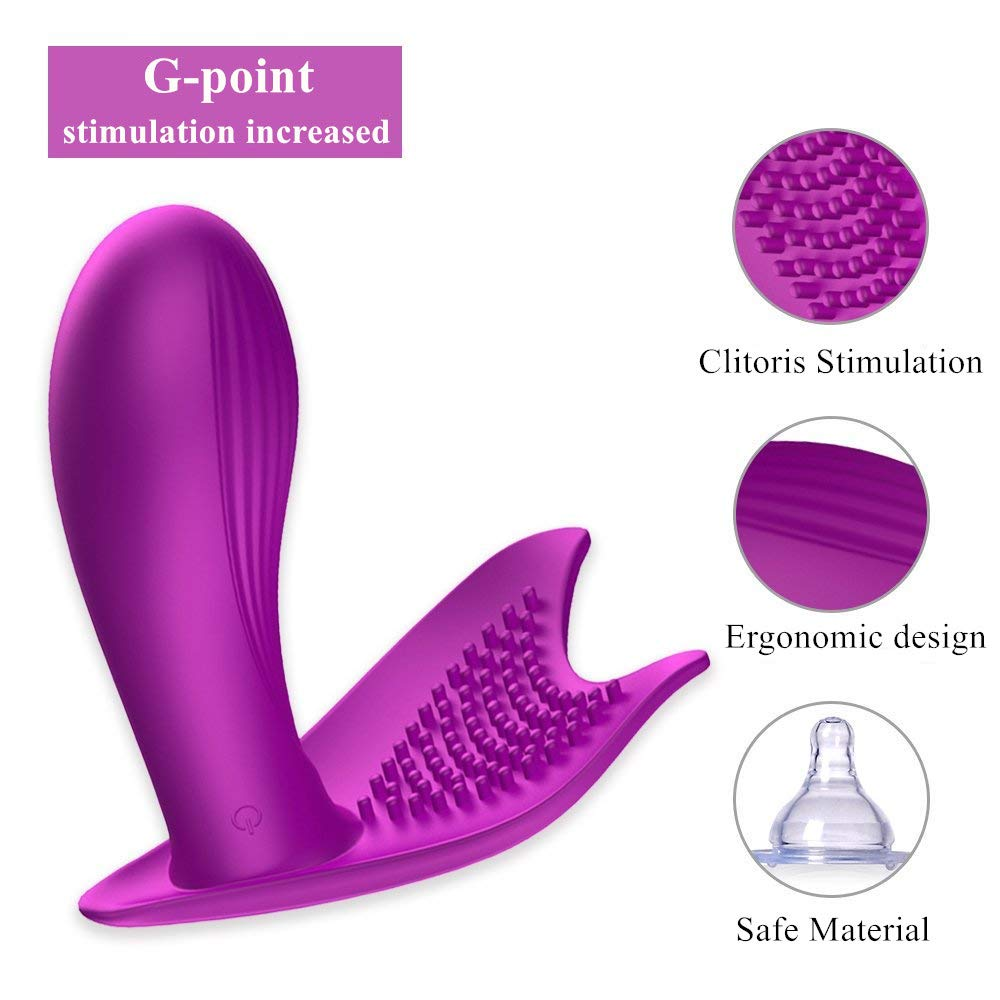 Weyes Wearable G-spot Vibrator - 7 Speed Frequency Wireless Remote-Controlled Electric Vibrator Massager with Rechargeable Battery for Woman (Purple)