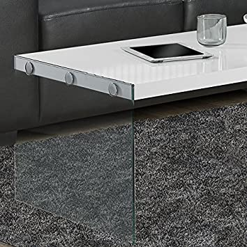 Monarch specialties  I 3054 Coffee Table Tempered Glass 44L Dark Taupe