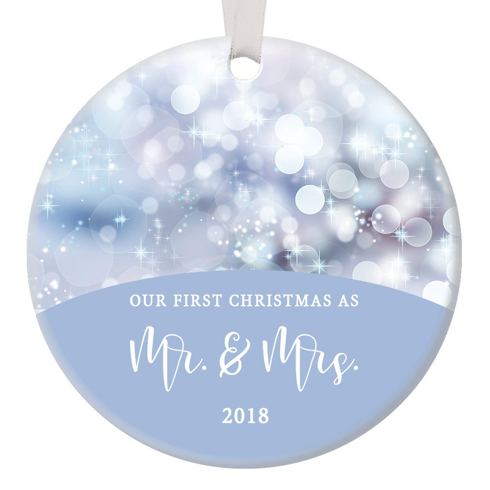 Our First Christmas as Mr & Mrs Ornament 2018, Blue Twinkling Lights Wedding Present for Bride and Groom Newlyweds Husband and Wife Ceramic 3