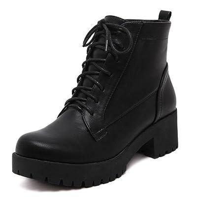 9f3494ec450 Aisun Femme Mode Talon Bloc Moyen à Lacets Low Boots Martin Bottes