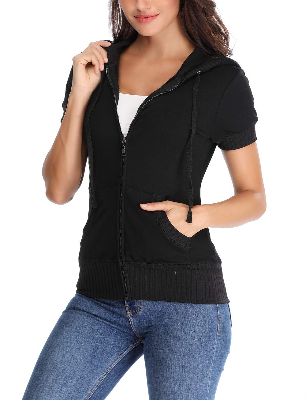 MISS MOLY Women's Round Neck Hoodie Zip Up Short Sleeve Jacket w 2 Patch Pocket