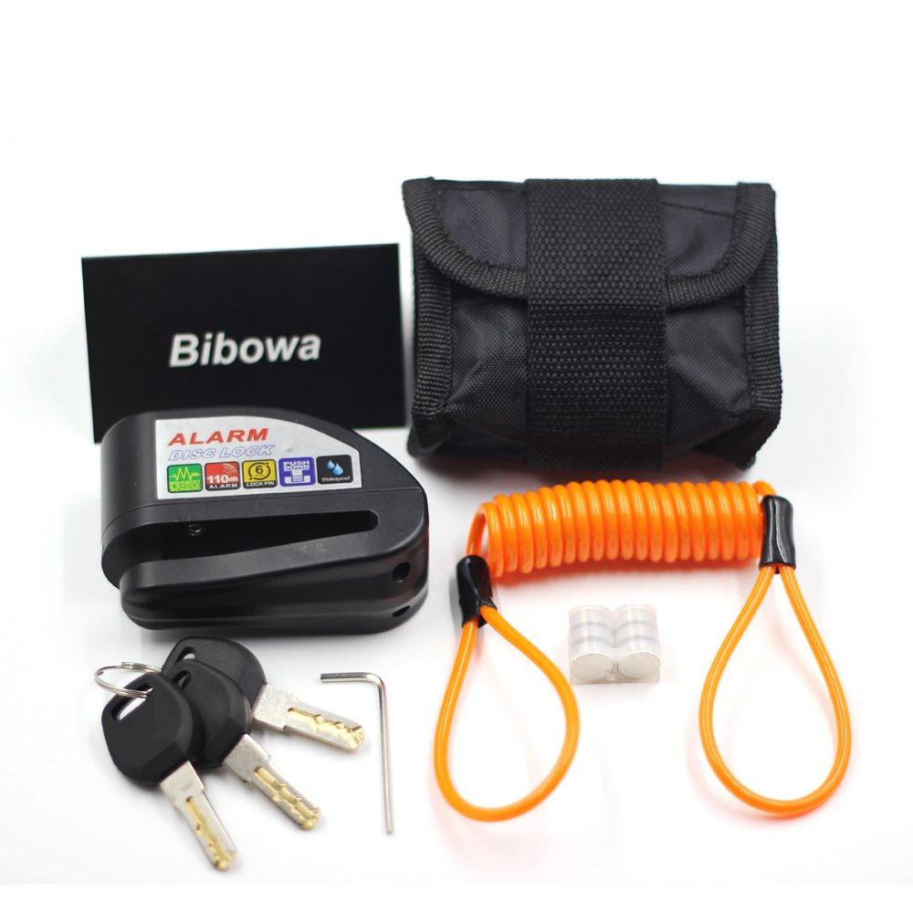 Bibowa Disc Brake Lock With Alarm Theft Disc Lock Motorcycle Alarm with 110dB Alarm Sound 5ft Reminder Cable and Pouch Wheel Security Lock for Motorcycles Scooters Bikes Anti