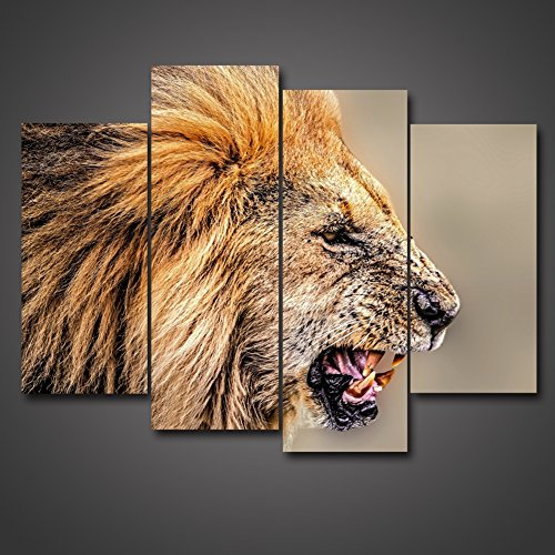 Grand Lion Fountain (Golden Yellow Roaring Lion Picture Animal Print Wall Art Head Portrait 4 Panel Framed Painting On Canvas Animal Decor Oil For Home Modern Decoration For Bathroom Living Room Gift by uLinked Art)