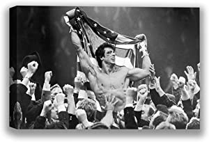 Funny Ugly Christmas Sweater Rocky Canvas Printed Decor Rocky Balboa Canvas Art for Office Sylvester Stallone Portrait Rocky Movie Poster Iconic American Actor Photo 19