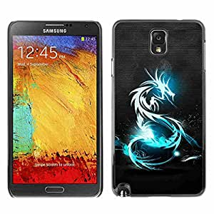 Shell-Star ( Blue Shine Tribal Dragon ) Snap On Hard Protective Case For Samsung Galaxy Note 3 III / N9000 / N9005