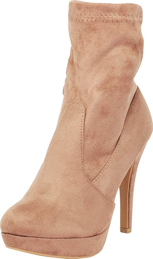 Taupe Imsu Cambridge Select Women's Stretch Sock Platform Stiletto High Heel Ankle Bootie