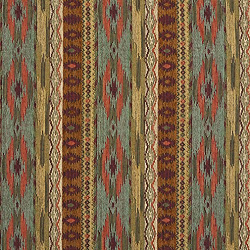 Yellow Stripe Upholstery Fabric - Teal Gold and Red Southwestern Mexican Ranch Stripe Chenille Upholstery Fabric by the yard