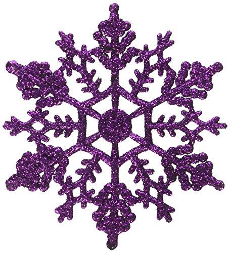 Vickerman Purple Glitter Snowflake with 24 Per PVC Box, 4-Inch