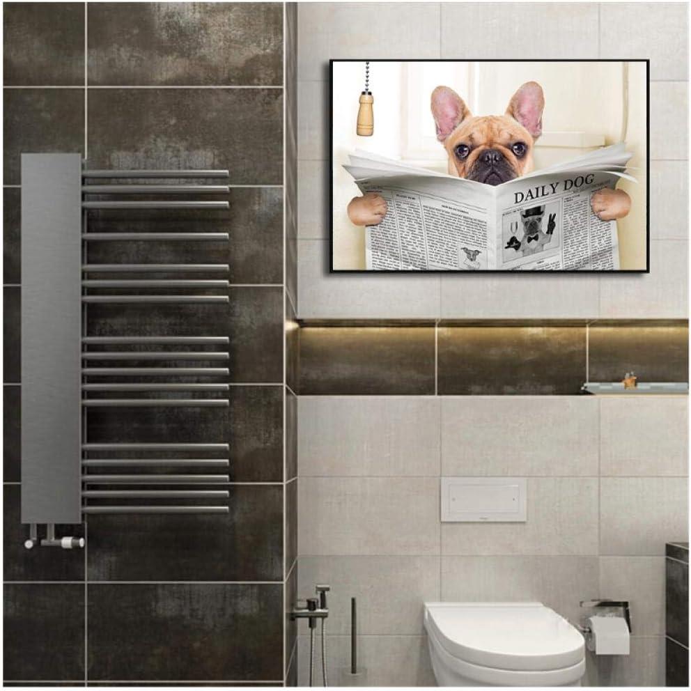 sin marco Funny Pug Dog Toilet Reading Newspaper Decoraci/ón de ba/ño Poster Nordic Canvas Painting Wall Art Print Cuadros 50x70cm