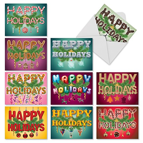 Happy Holidays Christmas Card - Boxed Set of 10 'Seasonal Sentiments' Christmas Cards - Happy Holidays Christmas Cards (Mini 4