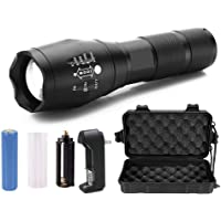 High Bright Cree XM-L T6 high lumens Zoomable LED Flashlight with charger and battery