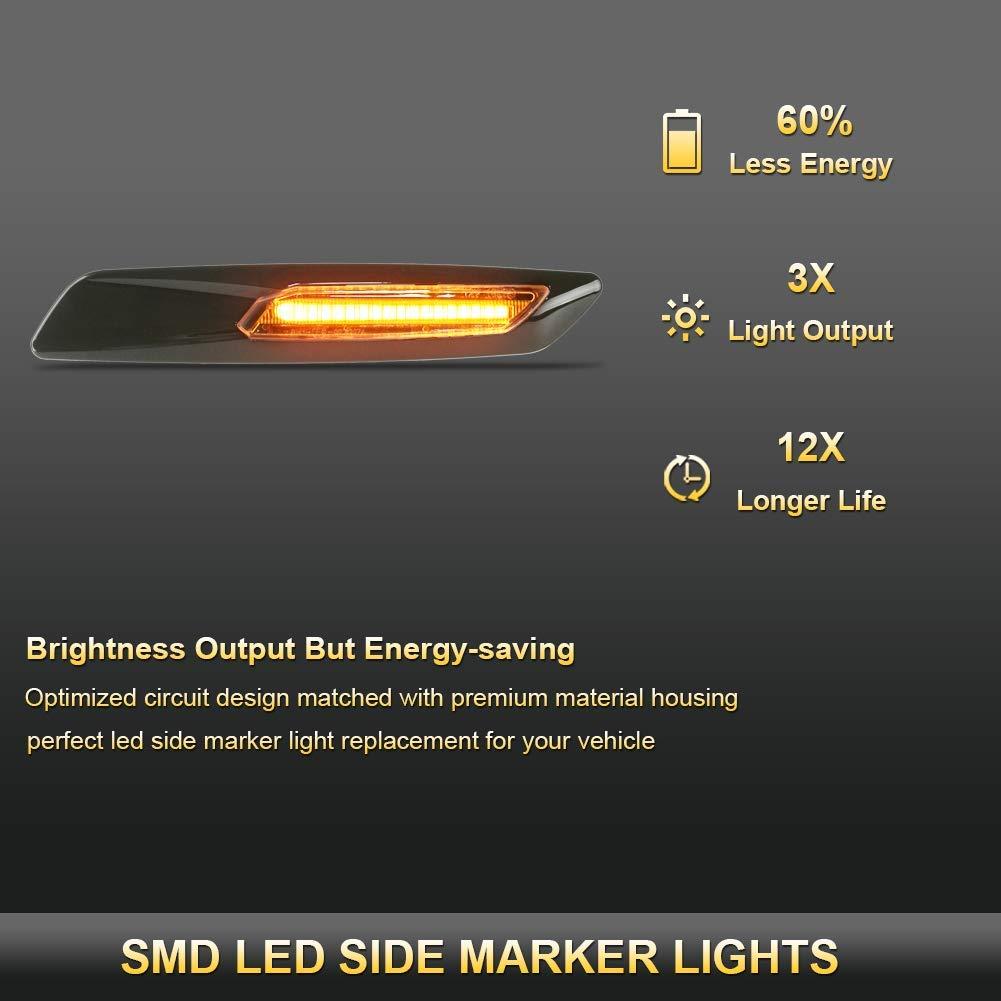 Rauchglas Dynamische gelbe Anzeigen Blinker Seitenmarkierung Blinkerlicht l/äuft sequentiell mit nicht polarisiertem CAN-Bus Fehlerfrei F/ür E81 E82 E87 E88 E90 E91 E92 E93 E60 E61 JAVR 2er-Pack