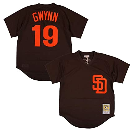 650e89575 Mitchell   Ness Tony Gwynn 1985 San Diego Padres Authentic Brown BP Jersey  Men s