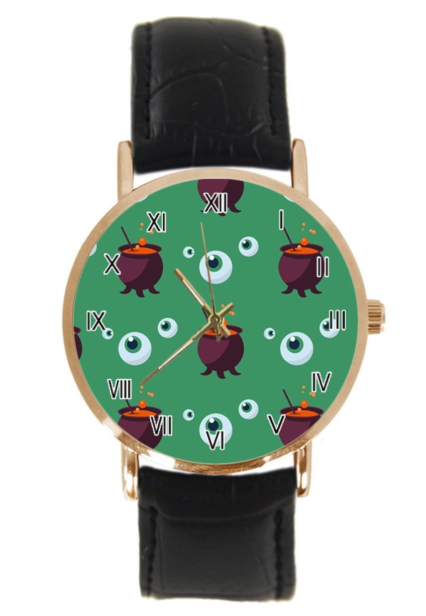jkfgweeryhrt New Simple Fashion Halloween Eye Ghost Steel Leather Analog Quartz Sport Wrist Watch