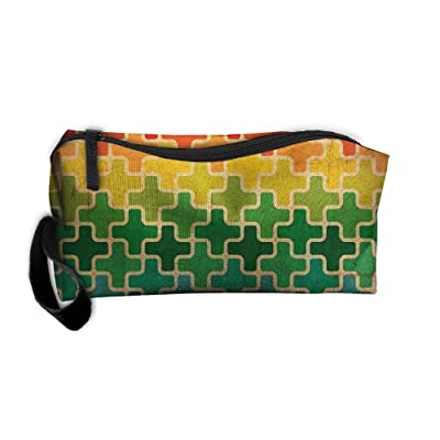 Portable Bags Travel Cosmetic Toiletry Clutch Bag Organizer Case Oxford Colorful Cross Pattern Storage Pouch