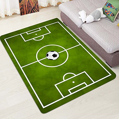 Alapaste Soccer Field Ground Mat Green,Non-Slip Play Area Rug Pad for Children Teen, Room Carpet Door Mat for Living room Playroom Nursery Decoration by Alapaste