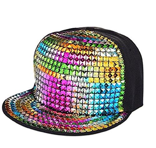 GreatJoy: Adjustable Metallic Baseball Snapback Cap Hats for Hip-Hop Funky Dance Club Costume (L, (Funky Cotton Hats)