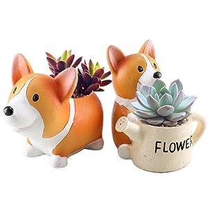 Anpatio Mini Resin Animal Plant Pot Adorable Carton Corgi Succulent Planter Desktop Flowerpot Fairy Garden Home Garden Decoration Set of 2
