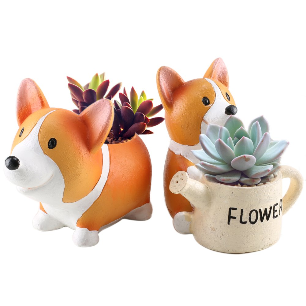 Anpatio Mini Resin Animal Plant Pot Adorable Carton Corgi Succulent Planter Desktop Flowerpot Fairy Garden Home Garden Decoration Set of 2 by Anpatio