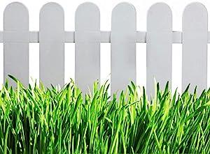 V Protek Picket Fence Decorative Garden Fence, Plastic Garden Fencing White (4 Pack) 20