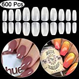 Coffin Fake Nails Tips Acrylic False Nail BTArtbox 600PCS Natural Artificial Full Cover Short Ballerina Nails 10 Sizes