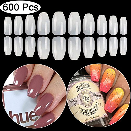 Coffin Fake Nails Tips Acrylic False Nail BTArtbox 600PCS Natural Artificial Full Cover Short Ballerina Nails 10 Sizes -