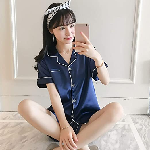 JullyCAnnice Pijama feminino curto de cetim de manga curta com fecho de botão para usar no verão: Amazon.com.br: Eletrônicos
