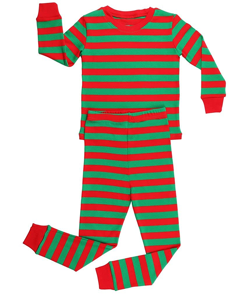 Red & Green Elowel Boys Girls Christmas Striped 2 Piece Kids Pajamas Set 100% Cotton 6M12Y