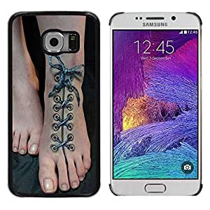 Paccase / SLIM PC / Aliminium Casa Carcasa Funda Case Cover - Art Shoe Laces Beautiful Feet - Samsung Galaxy S6 EDGE SM-G925