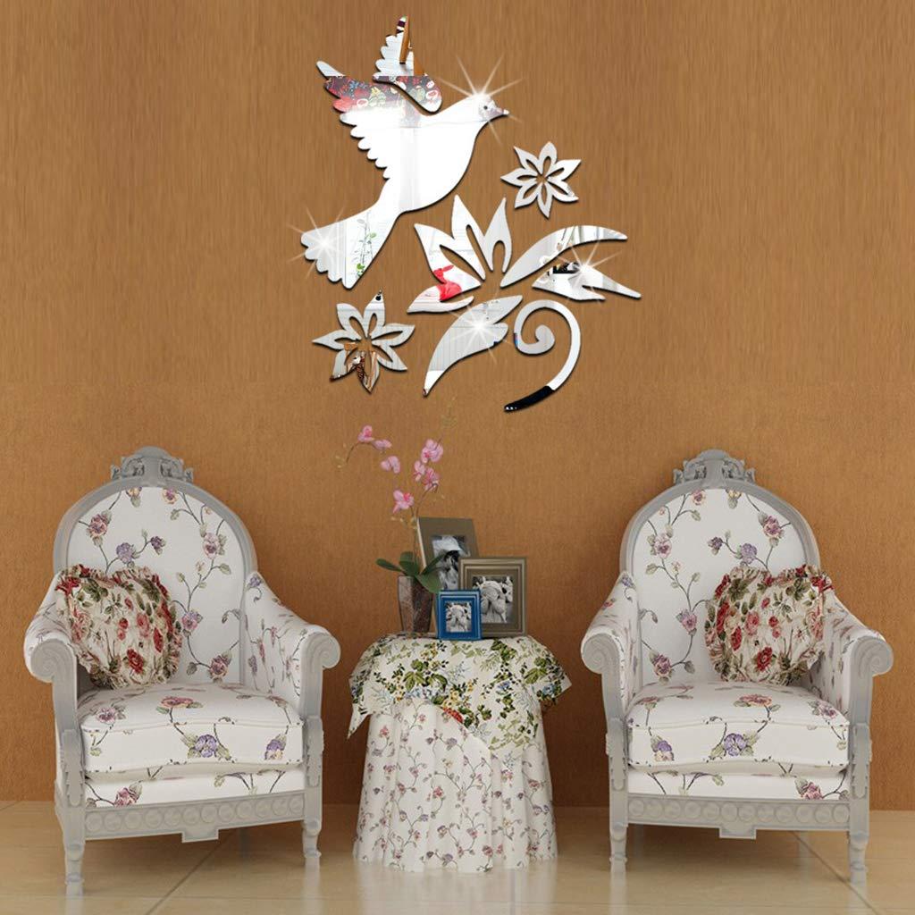 Ogquaton Premium Qualit/é Amovible Fleur Pigeon Oiseau Effet Miroir 3D Sticker Mural Decal Art Mural Home Room Decor Argent